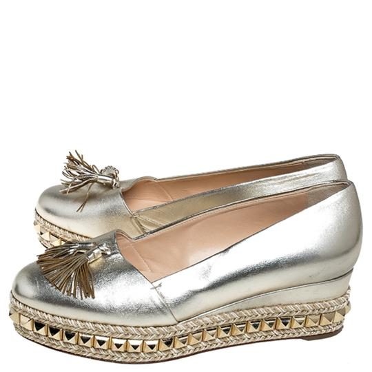 Christian Louboutin Metallic Leather Studded Gold Pumps Image 5