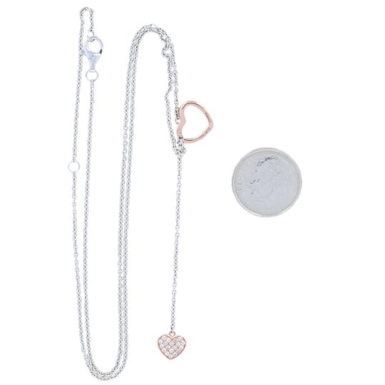Wilson Brothers Jewelry NEW .20ctw Diamond Heart Lariat Necklace - Sterling & 10k Rose G6287 Image 3