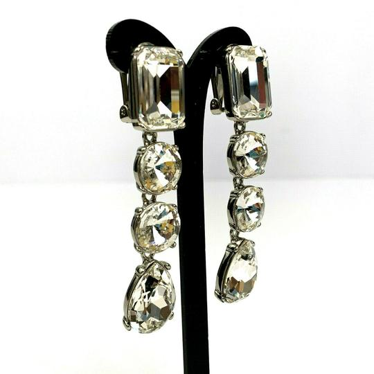 Oscar de la Renta Oscar de la Renta Signed Crystal Classic Drop Clip-On Earrings Image 2