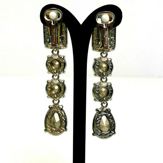 Oscar de la Renta Oscar de la Renta Signed Crystal Classic Drop Clip-On Earrings Image 3
