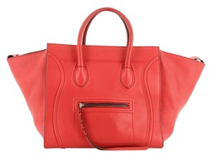 Céline Handbag Leather Tote in Red
