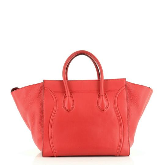Céline Handbag Leather Tote in Red Image 3