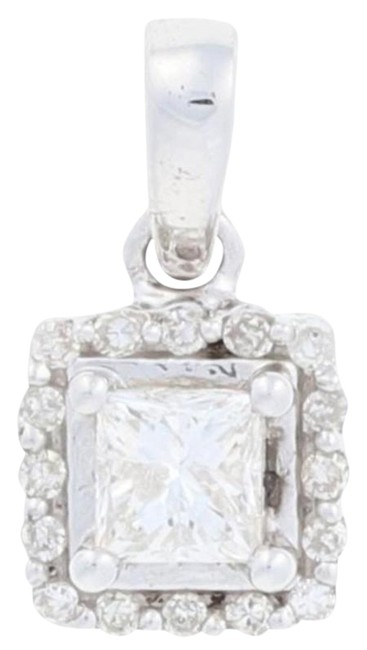 Wilson Brothers Jewelry Silver New .25ctw Princess Cut Diamond Pendant - Sterling Halo Wilson Brothers Jewelry Silver New .25ctw Princess Cut Diamond Pendant - Sterling Halo Image 1