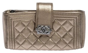 Chanel Suede Leather Quilted Metallic Clutch