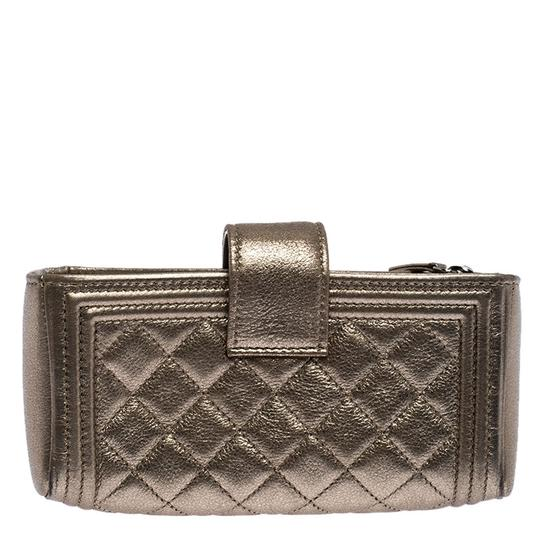 Chanel Suede Leather Quilted Metallic Clutch Image 1