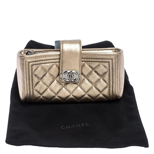 Chanel Suede Leather Quilted Metallic Clutch Image 10