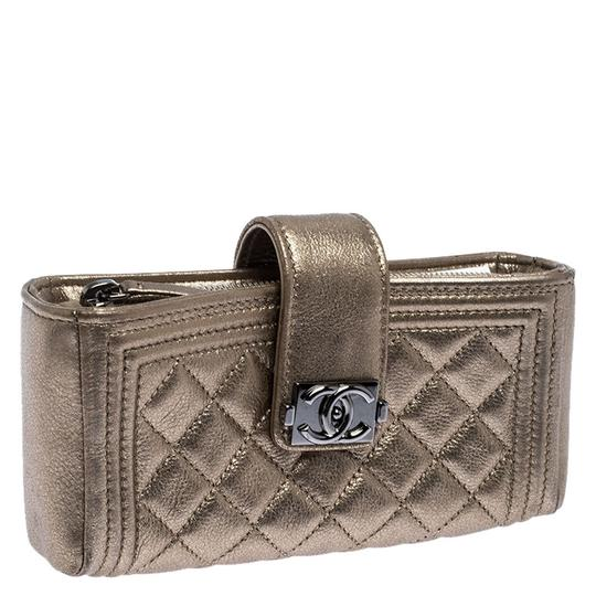 Chanel Suede Leather Quilted Metallic Clutch Image 2