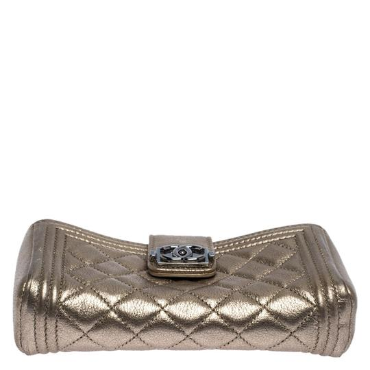Chanel Suede Leather Quilted Metallic Clutch Image 3