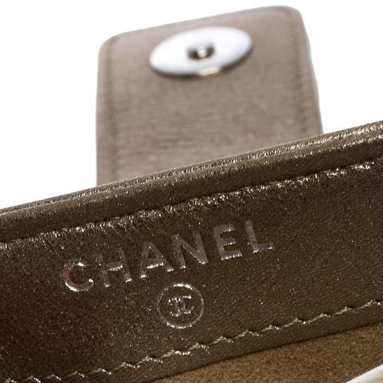 Chanel Suede Leather Quilted Metallic Clutch Image 5