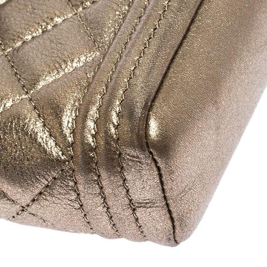 Chanel Suede Leather Quilted Metallic Clutch Image 6