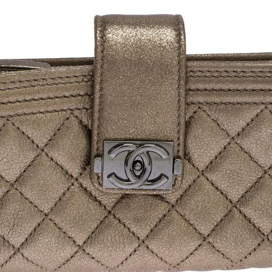 Chanel Suede Leather Quilted Metallic Clutch Image 7