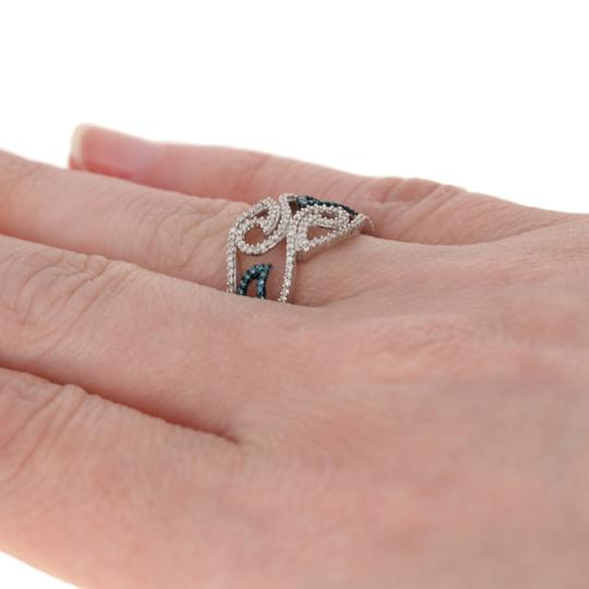 Wilson Brothers Jewelry NEW .33ctw Single Cut Blue & White Diamond Ring Sterling Bypass G6447 Image 3