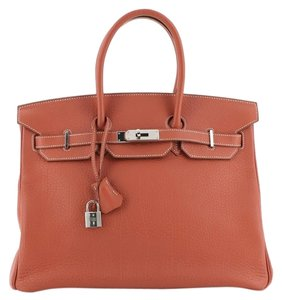 Hermès Handbag Leather Tote in Sanguine (Red)
