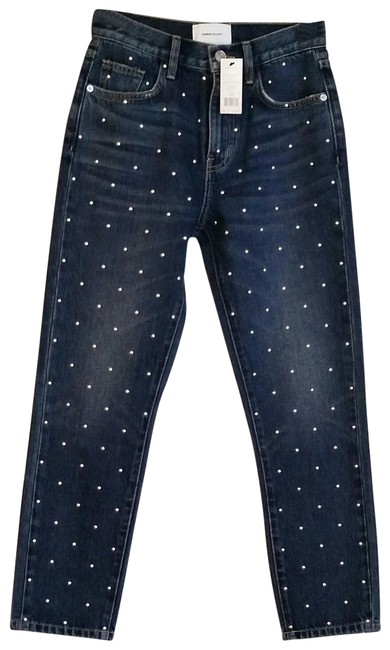 Item - Blue and Silver Dark Rinse  The Vintage Studded High-rise Slim-leg Capri/Cropped Jeans Size 24 (0, XS)