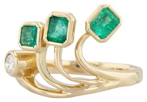 Other 0.96ctw Emerald Diamond Ring - 18k Gold Size 8 Abstract Cocktail