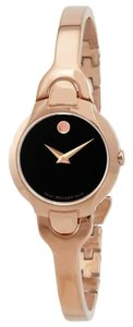 Movado MOVADO Women's Kara Black Dial Rose Gold-tone Watch 0607327
