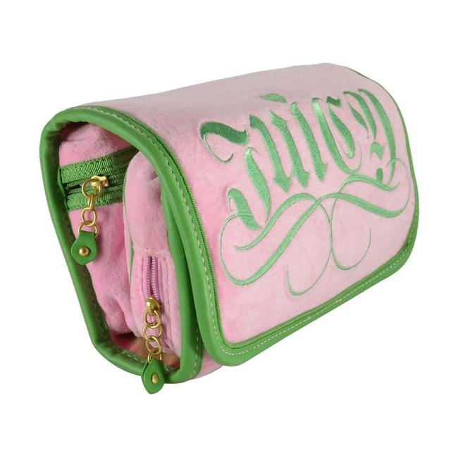 Item - Pink Crest Embroidery Terry Travel Trifold Cosmetic Bag