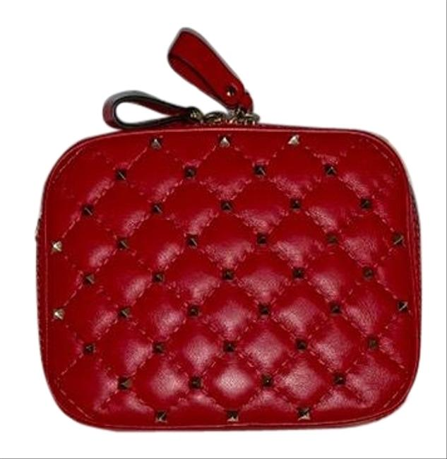 Item - Camera Quilted Leather Rockstud Red Cross Body Bag