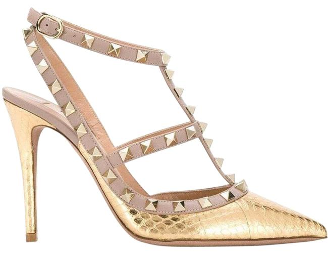 Item - Gold Rockstud Poudre Nude T Ankle Strap Pointed Caged Sandal Heel Pumps Size EU 37 (Approx. US 7) Regular (M, B)