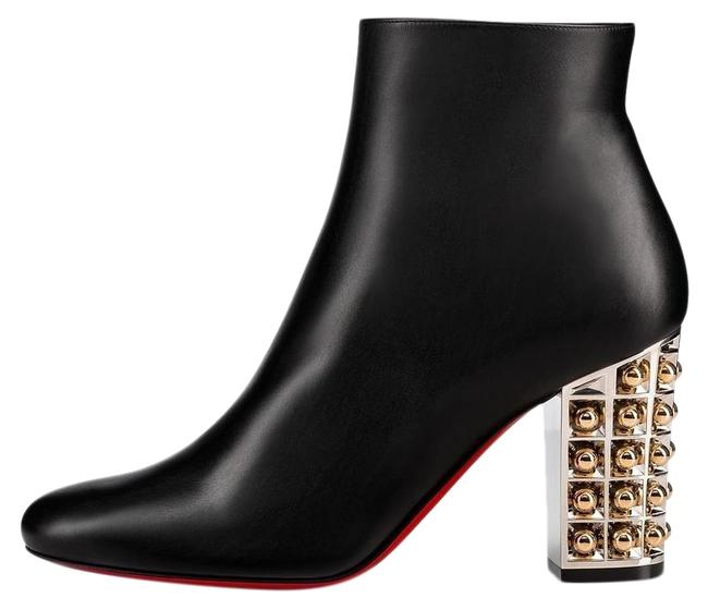 Christian Louboutin Black Vasa 85 Leather Silver Gold Heel Stiletto Ankle Boots/Booties Size EU 37 (Approx. US 7) Regular (M, B) Christian Louboutin Black Vasa 85 Leather Silver Gold Heel Stiletto Ankle Boots/Booties Size EU 37 (Approx. US 7) Regular (M, B) Image 1