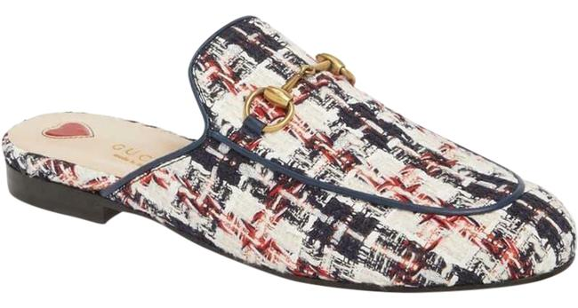Item - Red White Blue Princetown Tweed Check Plaid Flat Sandals Slippers Mules/Slides Size EU 37 (Approx. US 7) Regular (M, B)