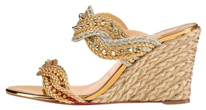 Christian Louboutin Pigalle Follies Strass Crystal Degrastrass gold Wedges