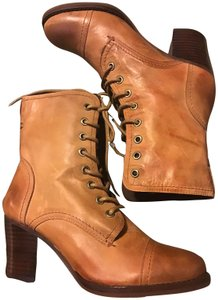 Nicole Granny Ankle Leather Cognac Boots