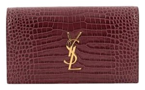 Saint Laurent Ysl Crocodile Wine Kate Clutch