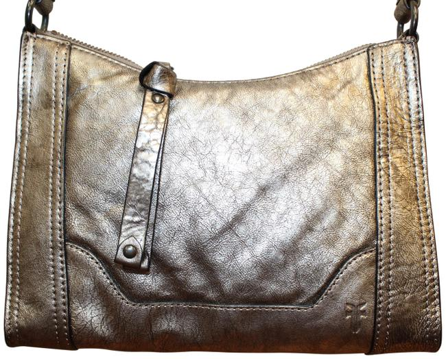 Item - Melissa Metallic Silver Gray Leather Cross Body Bag