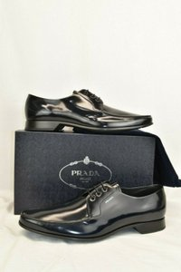 Prada Blue 2ec124 Dark Navy Polished Leather Lace Up Oxfords 10.5 Shoes