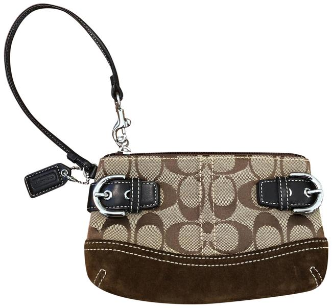 Item - Monogram Signature Tan and Brown Suede Leather Canvas Wristlet