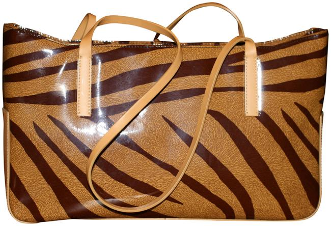 Item - Animal Print Tote Brown Leather Shoulder Bag