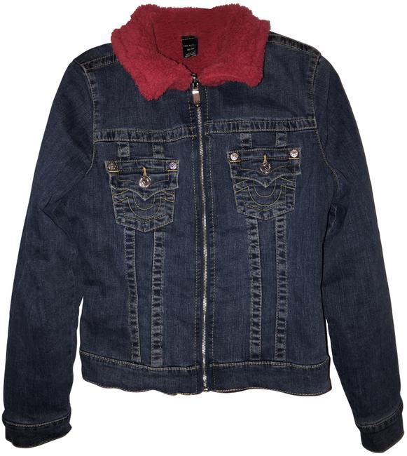 Item - Blue Jean and Red Trucker Jacket Activewear Size 8 (M)