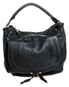 Chloé Leather Marcie Satchel in Black