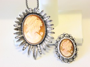 AMEDEO AMEDEO Crystal Cameo Pendant and Crystal Cameo Ring
