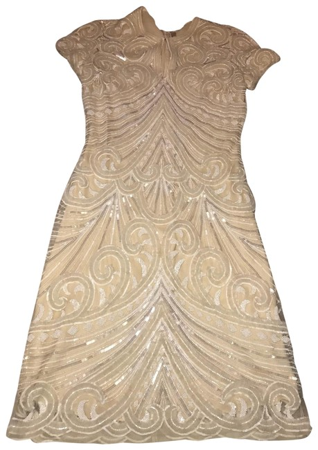 Item - Ivory Beaded Mid-length Formal Dress Size 4 (S)