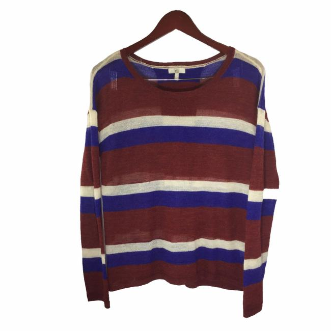 Item - L Alpaca Burgandy Striped Violet Size Red Blue White Sweater
