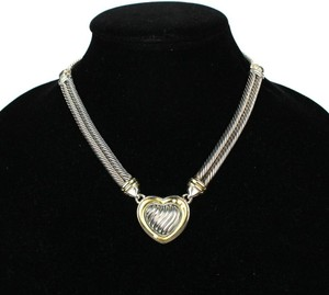 David Yurman FREE ANTIQUED CHEST-JEWELRY BOX-Metro Cable Heart w/Diamonds-