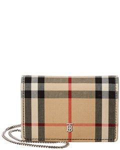 Burberry Burberry Jessie Vintage Check & Leather Card Case On Chain