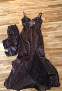 Landa Designs Brown 100 Percent Polyester Chocolate Mother Of Bride Gown Formal Bridesmaid/Mob Dress Size 10 (M)