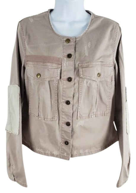 Item - Pink Cream Distressed Elbow Patches Collarless Button Up Jacket Size 8 (M)