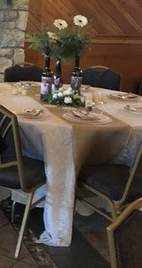 Ivory White & Burlap Overlays Runners Tablecloth