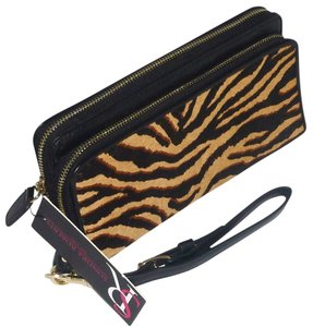 Sondra Roberts Sondra Roberts Hair Calf Tiger Double Zip Around Wallet Clutch Wristlet RARE