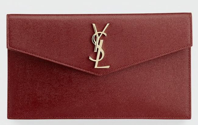 Saint Laurent Ysl Pouch Deep Red Textured Leather Clutch Saint Laurent Ysl Pouch Deep Red Textured Leather Clutch Image 1