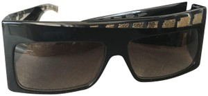 Anna-Karin Karlsson Square Acetate sunglasses with clear and gold detail.