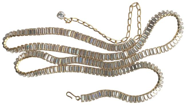 Item - Gold & Crystal Slinky Baguette Belt