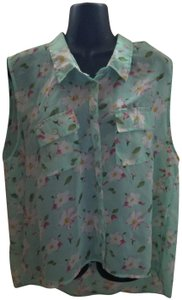 Passport Floral Sheer Xxl 2xl Plus Size Top Green