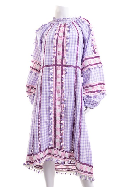 Item - Purple Check Print Embroidered Long Casual Maxi Dress Size 2 (XS)