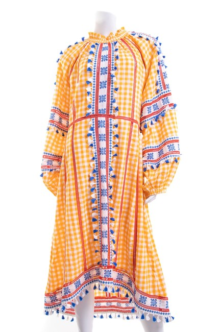 Item - Orange Check Print Embroidered Long Casual Maxi Dress Size 8 (M)