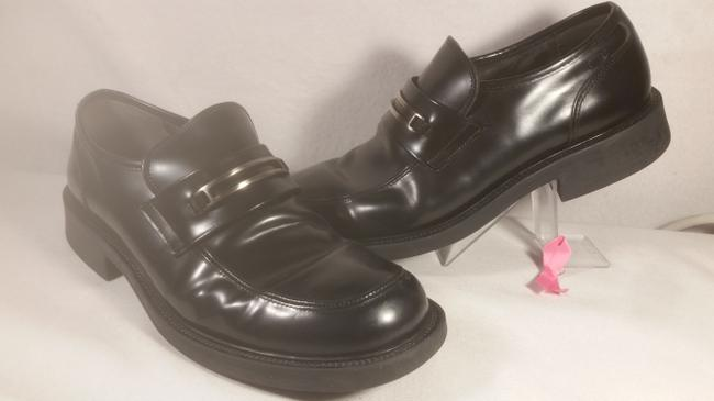 Item - Black W/Silver Accent Leather Men's Dress Casual Walking Office Loafer 9.5m Shoes